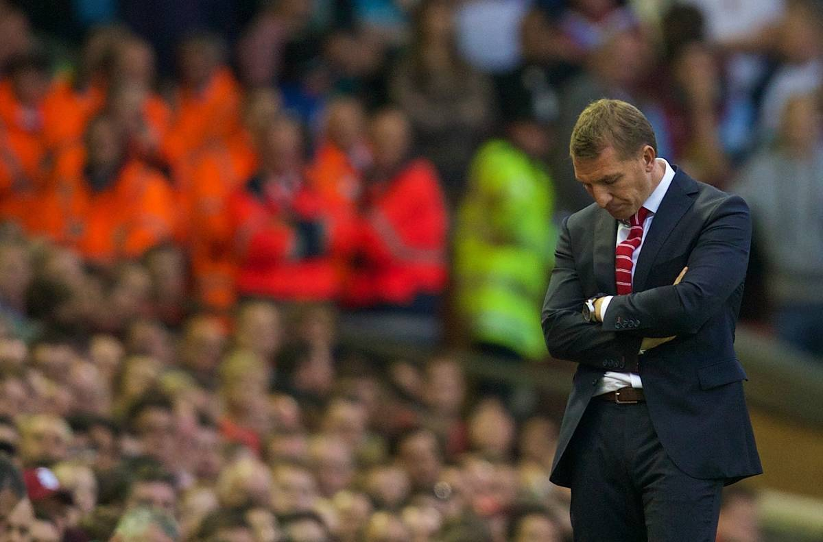 LIVERPOOL, ENGLAND - Saturday, September 13, 2014: Liverpool's manager Brendan Rodgers looks dejected as his side lose 1-0 at home to Aston Villa during the Premier League match at Anfield. (Pic by David Rawcliffe/Propaganda)