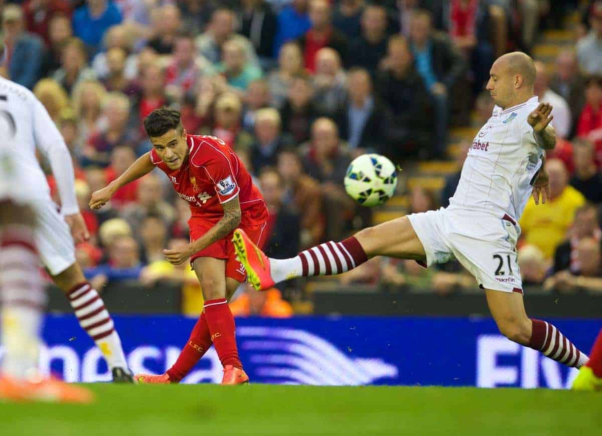 LIVERPOOL, ENGLAND - Saturday, September 13, 2014: Liverpool's Philippe Coutinho Correias his shot hit the Aston Villa post during the Premier League match at Anfield. (Pic by David Rawcliffe/Propaganda)