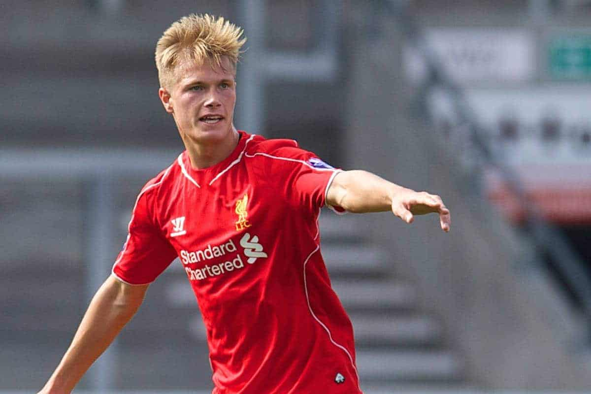 LIVERPOOL, ENGLAND - Tuesday, September 16, 2014: Liverpool's Daniel Cleary in action against PFC Ludogorets Razgrad during the UEFA Youth League Group B match at Langtree Park. (Pic by David Rawcliffe/Propaganda)