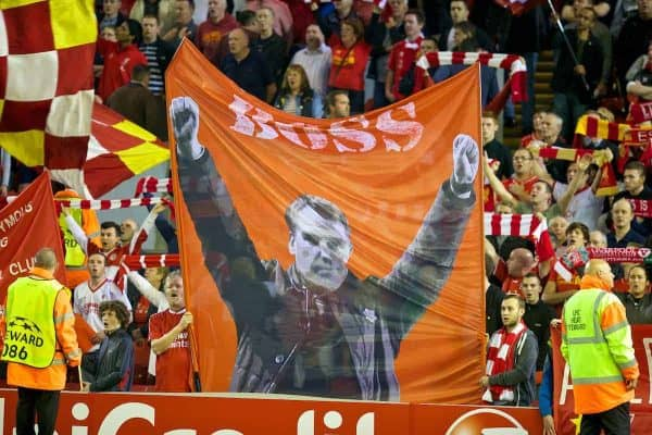 LIVERPOOL, ENGLAND - Tuesday, September 16, 2014: Liverpool supporters on the Spion Kop with a banner on manager Brendan Rodgers 'Boss' before the UEFA Champions League Group B match against PFC Ludogorets Razgrad at Anfield. (Pic by David Rawcliffe/Propaganda)