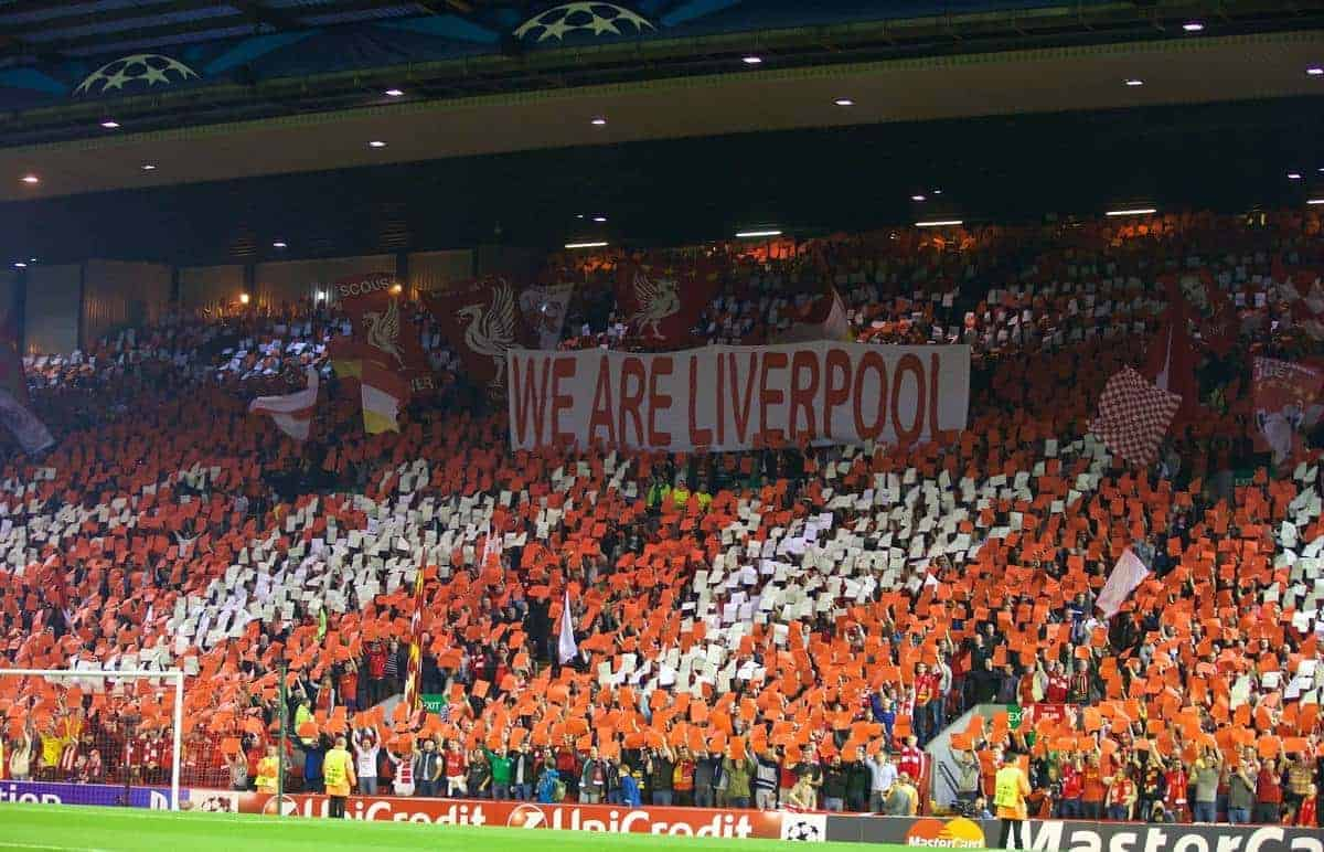 LIVERPOOL, ENGLAND - Tuesday, September 16, 2014: Liverpool supporters on the Spion Kop make a mosaic of European Cups before the UEFA Champions League Group B match against PFC Ludogorets Razgrad at Anfield. (Pic by David Rawcliffe/Propaganda)