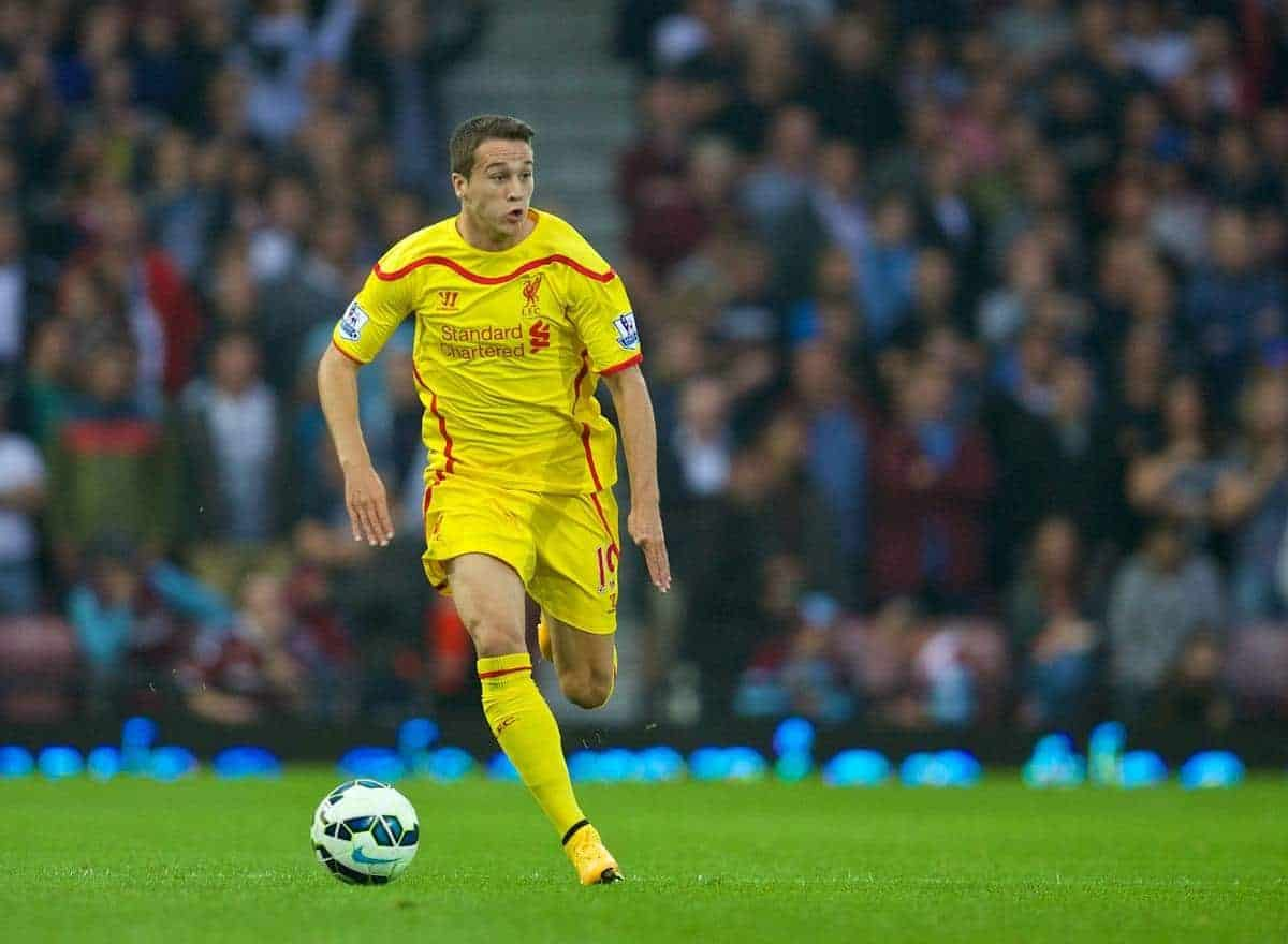 LONDON, ENGLAND - Saturday, September 20, 2014: Liverpool's Javier Manquillo in action against West Ham United during the Premier League match at Upton Park. (Pic by David Rawcliffe/Propaganda)