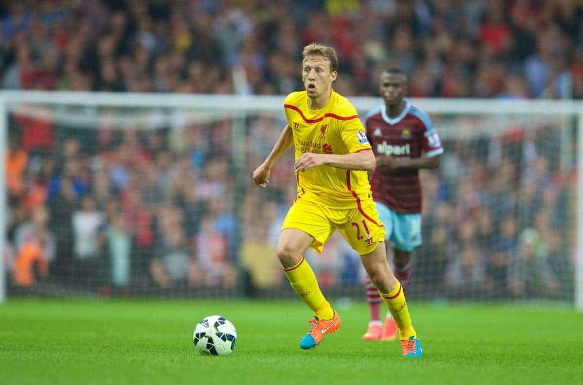 Liverpool's Lucas Leiva in action against West Ham United during the Premier League match at Upton Park. (Pic by David Rawcliffe/Propaganda)