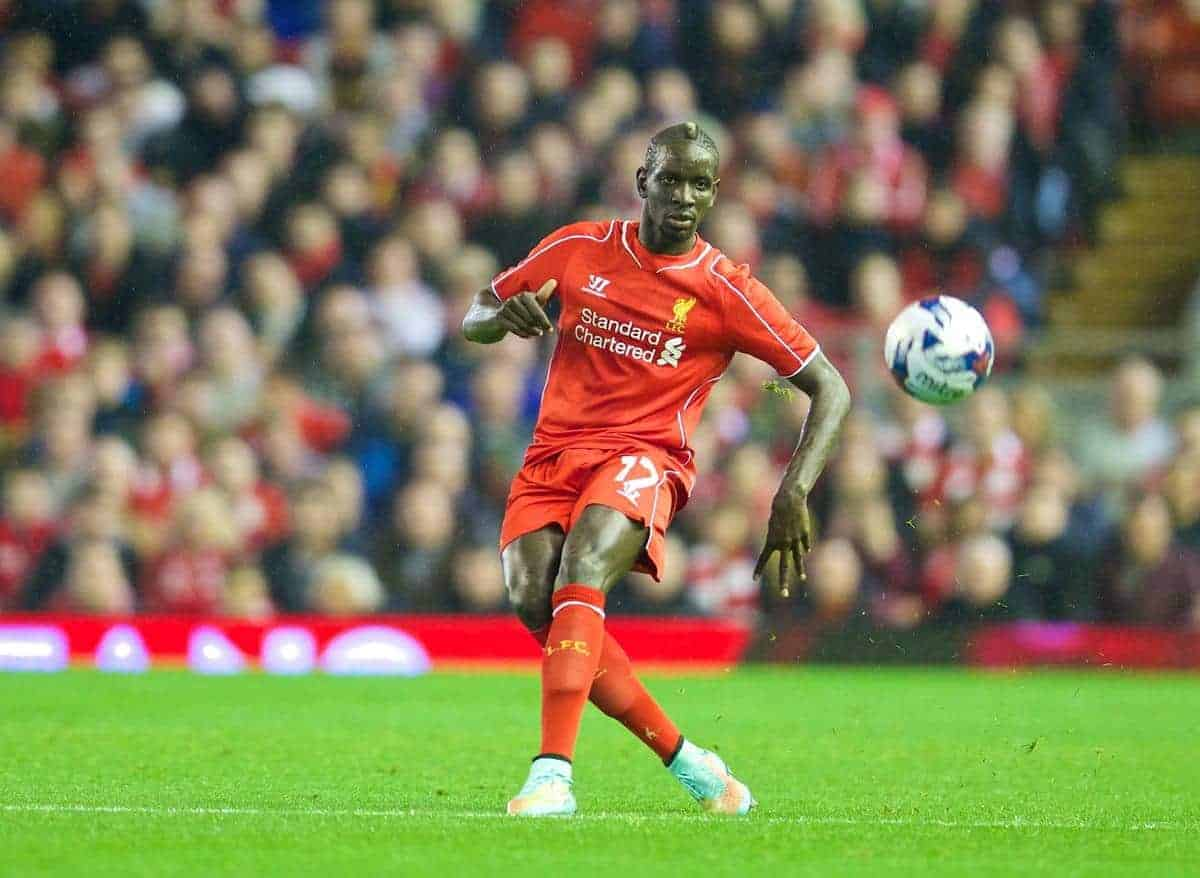 LIVERPOOL, ENGLAND - Tuesday, September 23, 2014: Liverpool's Mamadou Sakho in action against Middlesbrough during the Football League Cup 3rd Round match at Anfield. (Pic by David Rawcliffe/Propaganda)