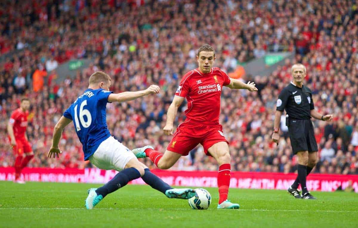 LIVERPOOL, ENGLAND - Saturday, September 27, 2014: Liverpool's Jordan Henderson in action against Everton during the Premier League match at Anfield. (Pic by David Rawcliffe/Propaganda)