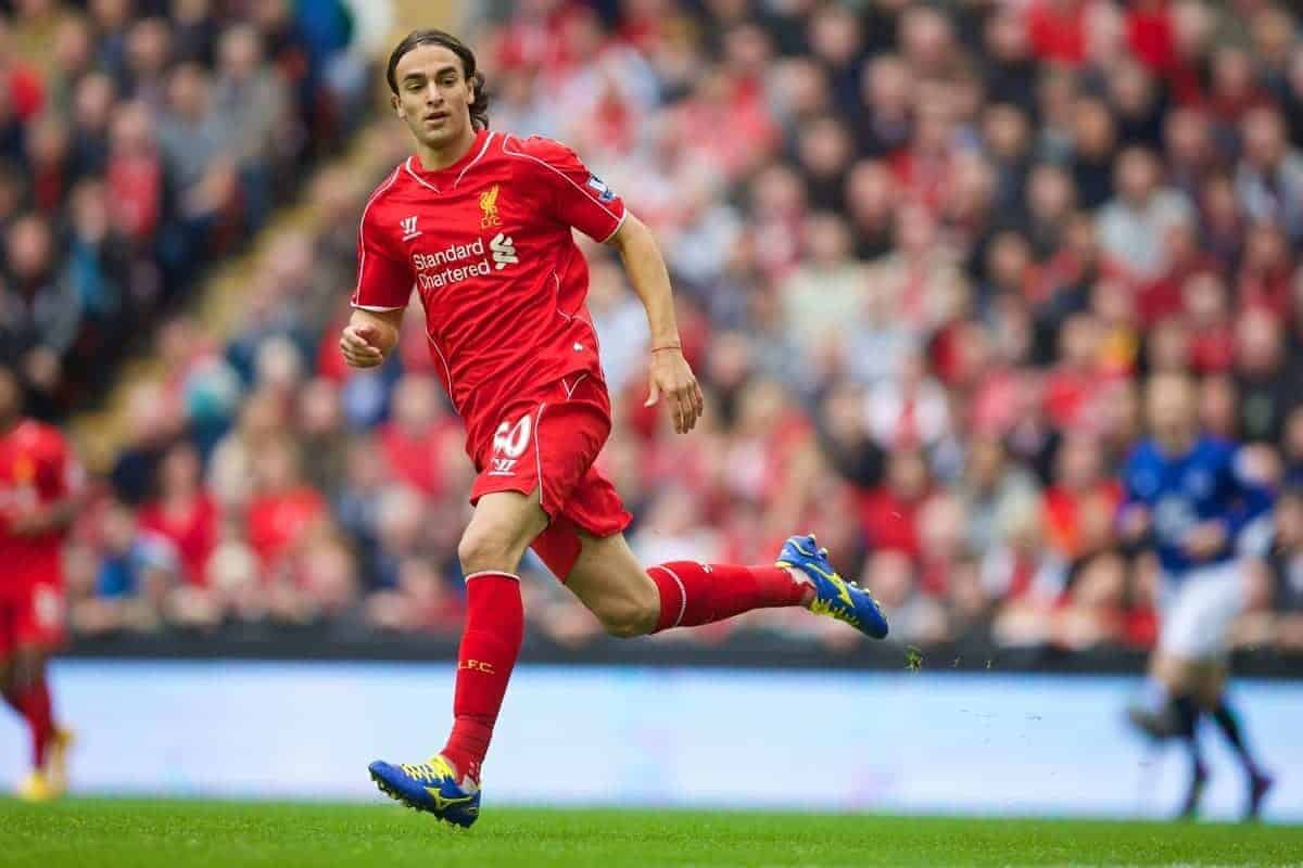 LIVERPOOL, ENGLAND - Saturday, September 27, 2014: Liverpool's Lazar Markovic in action against Everton during the Premier League match at Anfield. (Pic by David Rawcliffe/Propaganda)