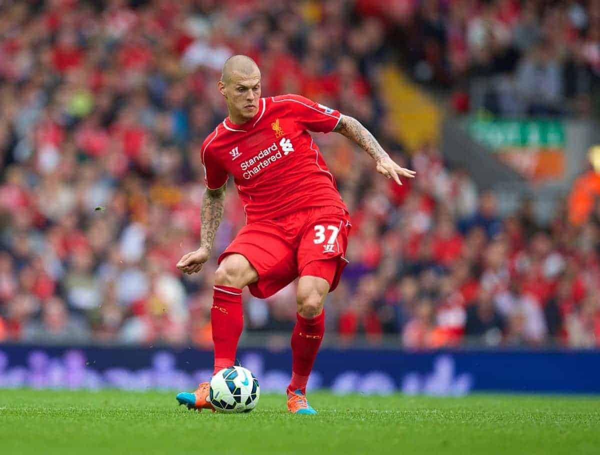 LIVERPOOL, ENGLAND - Saturday, September 27, 2014: Liverpool's Martin Skrtel in action against Everton during the Premier League match at Anfield. (Pic by David Rawcliffe/Propaganda)