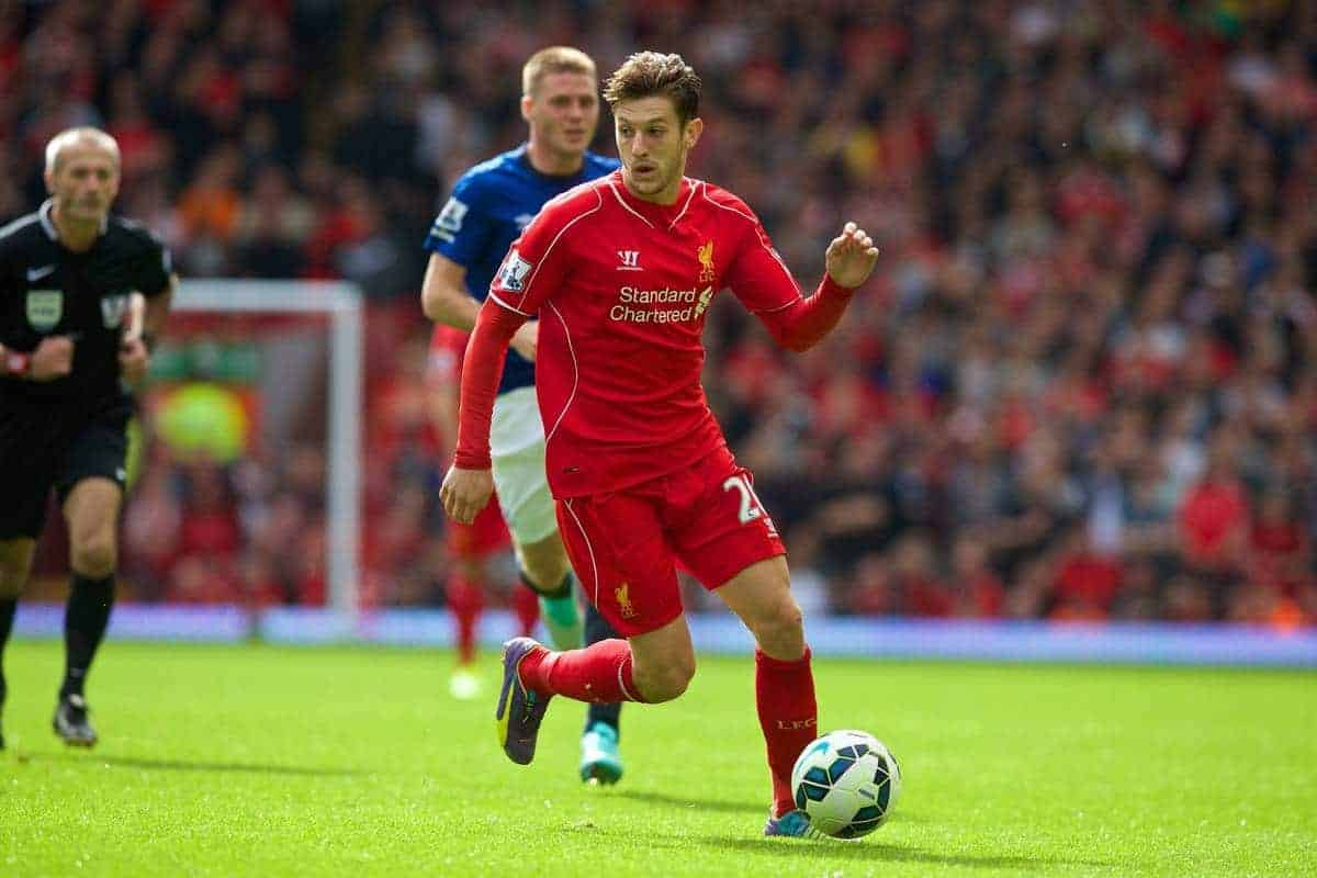 LIVERPOOL, ENGLAND - Saturday, September 27, 2014: Liverpool's Adam Lallana in action against Everton during the Premier League match at Anfield. (Pic by David Rawcliffe/Propaganda)