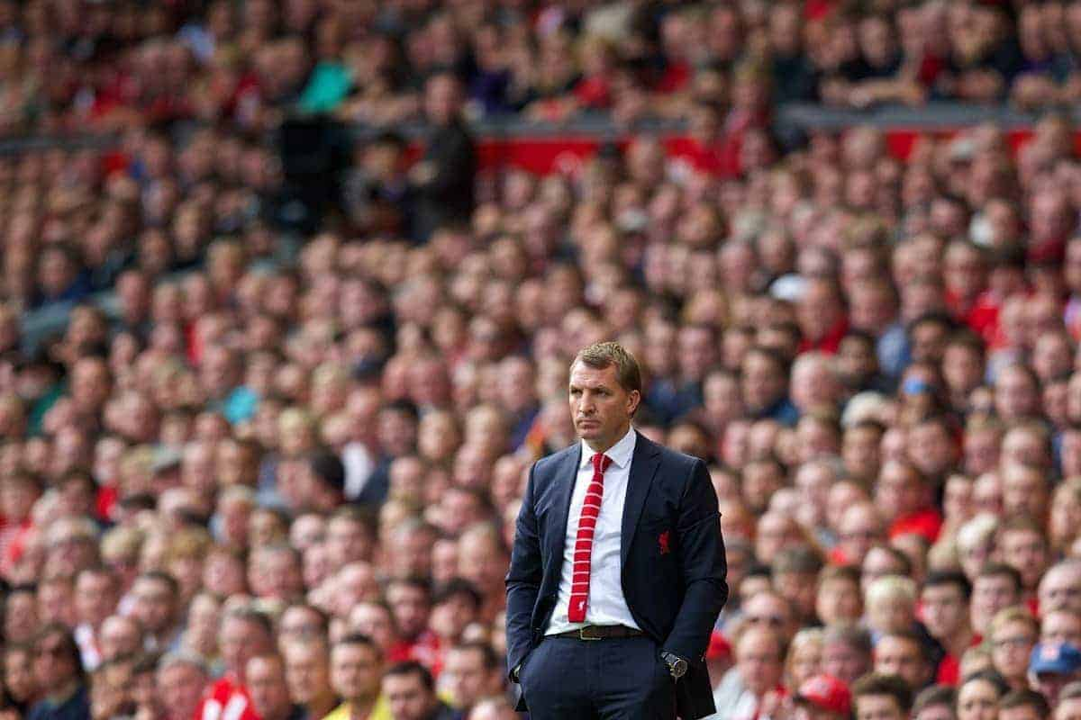 LIVERPOOL, ENGLAND - Saturday, September 27, 2014: Liverpool's manager Brendan Rodgers during the Premier League match against Everton at Anfield. (Pic by David Rawcliffe/Propaganda)