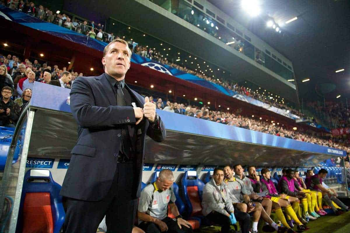 BASEL, SWITZERLAND - Wednesday, October 1, 2014: Liverpool's manager Brendan Rodgers before the UEFA Champions League Group B match against FC Basel at the St. Jakob-Park Stadium. (Pic by David Rawcliffe/Propaganda)