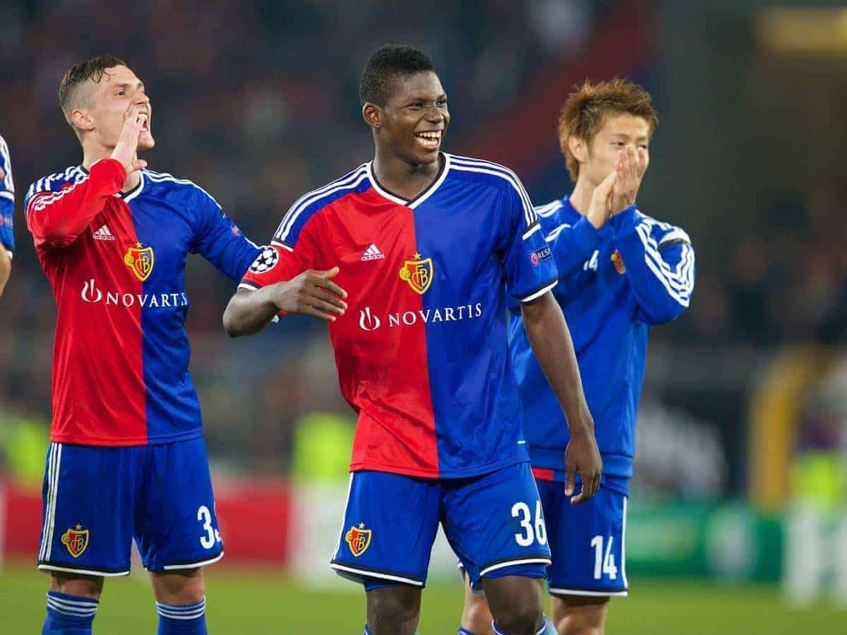BASEL, SWITZERLAND - Wednesday, October 1, 2014: FC Basel's Breel Embolo celebrates his side's 1-0 victory over Liverpool during the UEFA Champions League Group B match at the St. Jakob-Park Stadium. (Pic by David Rawcliffe/Propaganda)