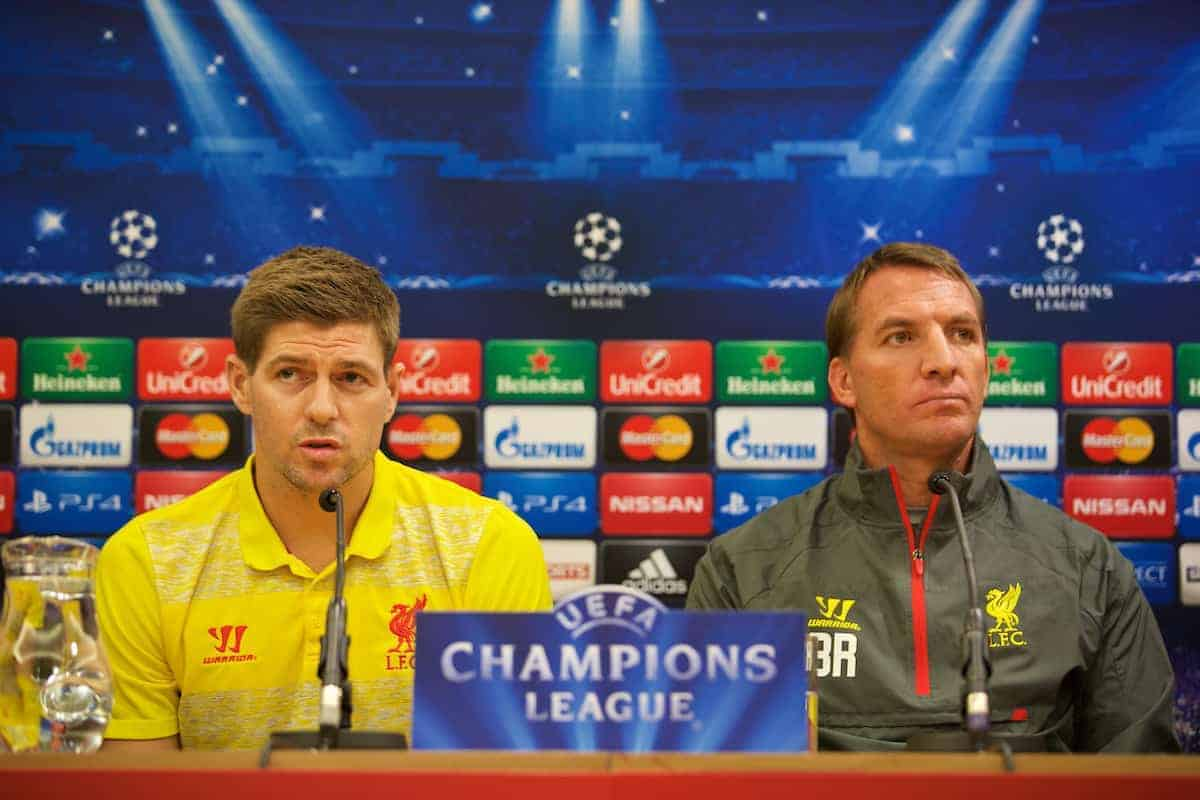 LIVERPOOL, ENGLAND - Tuesday, October 21, 2014: Liverpool's captain Steven Gerrard and manager Brendan Rodgers during a press conference ahead of the UEFA Champions League Group B match against Real Madrid at Anfield. (Pic by David Rawcliffe/Propaganda)