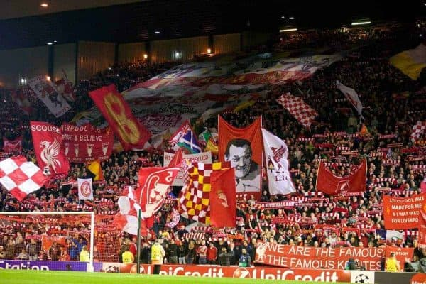 LIVERPOOL, ENGLAND - Wednesday, October 22, 2014: Liverpool supporters on the Spion Kop during the UEFA Champions League Group B match against Real Madrid CF at Anfield. (Pic by David Rawcliffe/Propaganda)