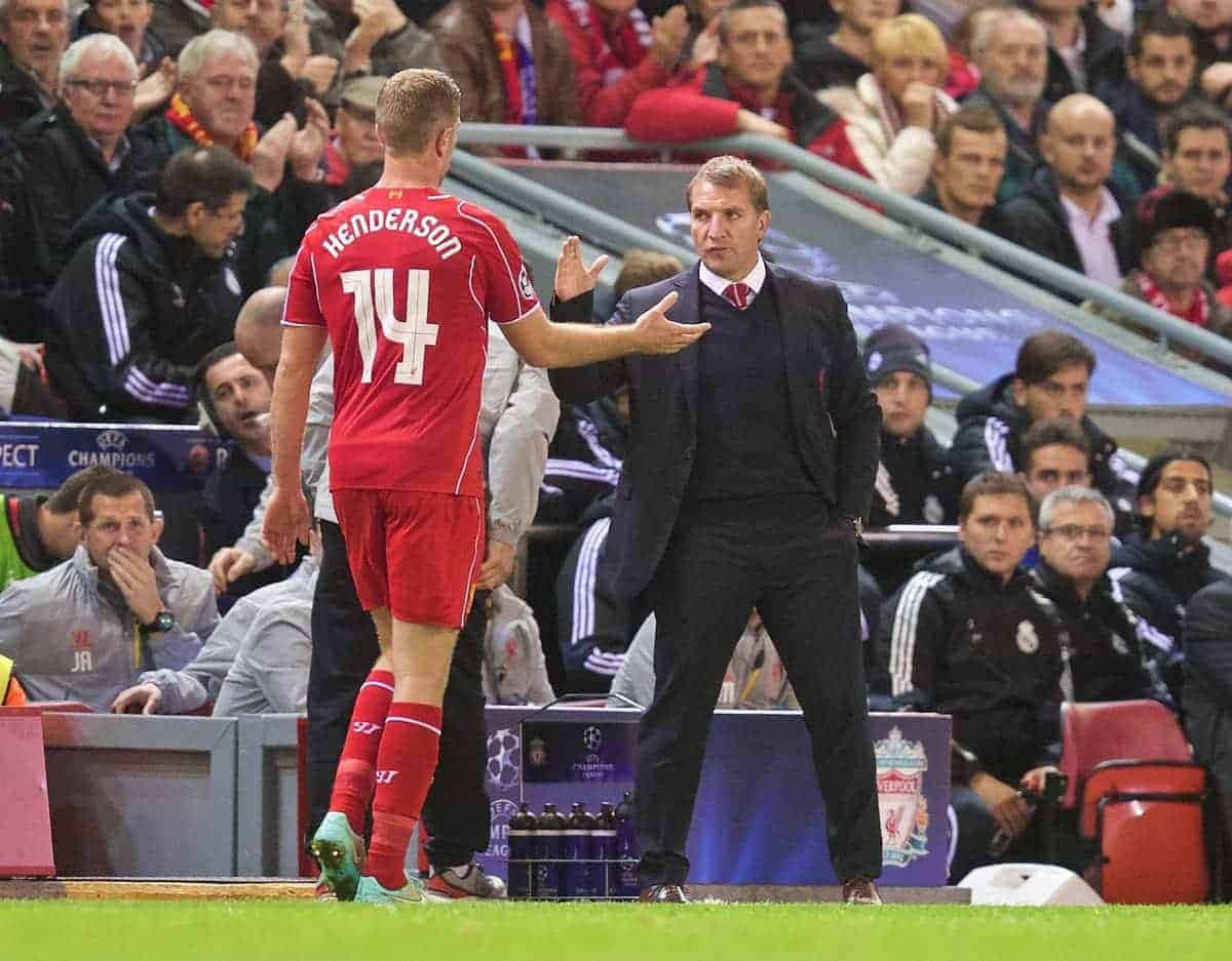 LIVERPOOL, ENGLAND - Wednesday, October 22, 2014: Liverpool's Jordan Henderson is substituted by manager Brendan Rodgers during the UEFA Champions League Group B match against Real Madrid CF at Anfield. (Pic by David Rawcliffe/Propaganda)