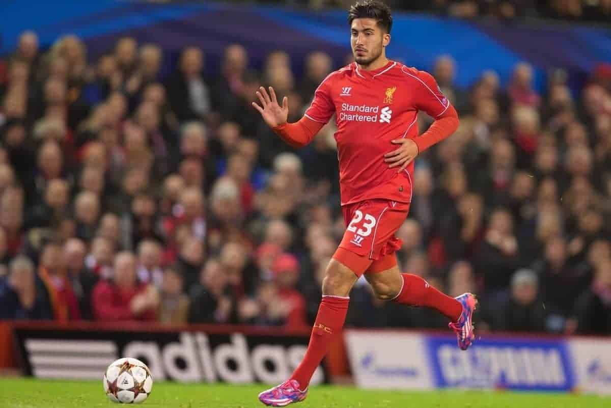 LIVERPOOL, ENGLAND - Wednesday, October 22, 2014: Liverpool's Emre Can in action against Real Madrid CF during the UEFA Champions League Group B match at Anfield. (Pic by David Rawcliffe/Propaganda)