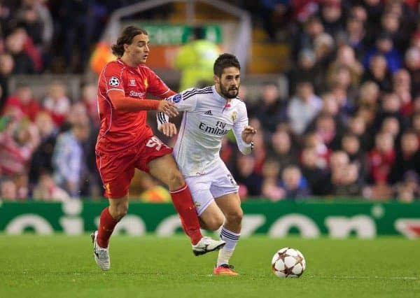 Liverpool's Lazar Markovic in action against Real Madrid CF's Isco during the UEFA Champions League Group B match at Anfield. (Pic by David Rawcliffe/Propaganda)