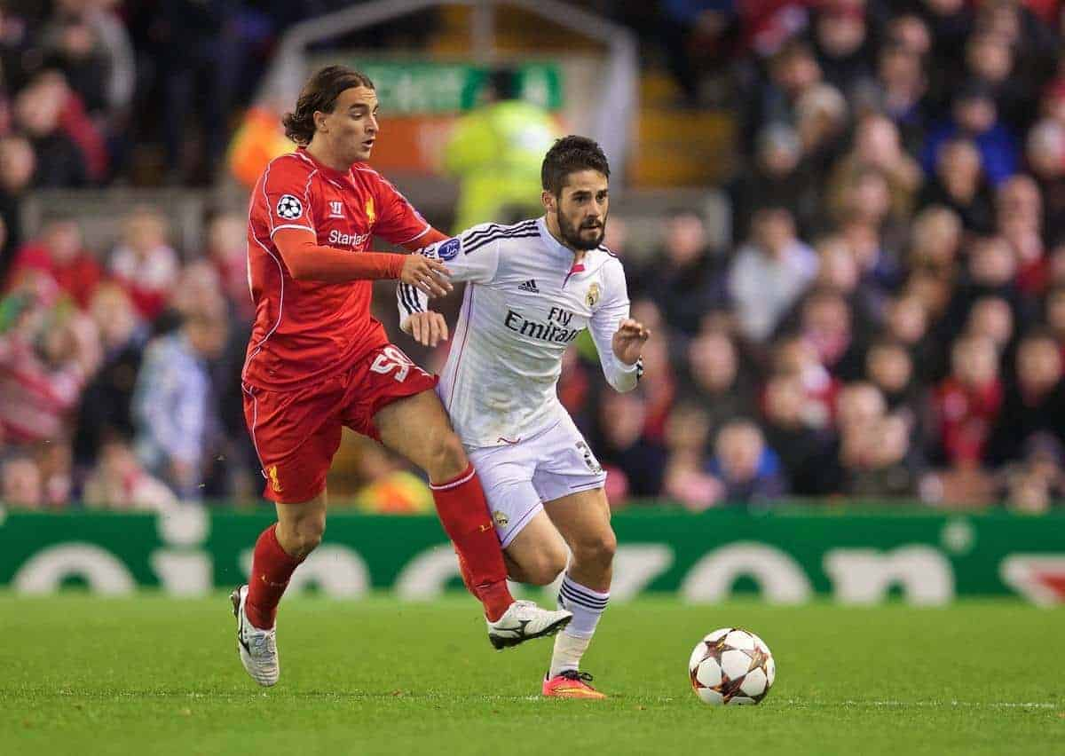 LIVERPOOL, ENGLAND - Wednesday, October 22, 2014: Liverpool's Lazar Markovic in action against Real Madrid CF's Isco during the UEFA Champions League Group B match at Anfield. (Pic by David Rawcliffe/Propaganda)