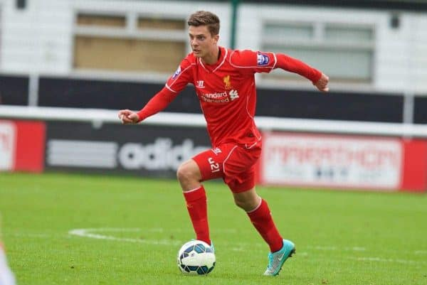 MOTSPUR PARK, ENGLAND - Sunday, October 26, 2014: Liverpool's Marc Pelosi in action against Fulham during the Under 21 FA Premier League match at Motspur Park. (Pic by David Rawcliffe/Propaganda)