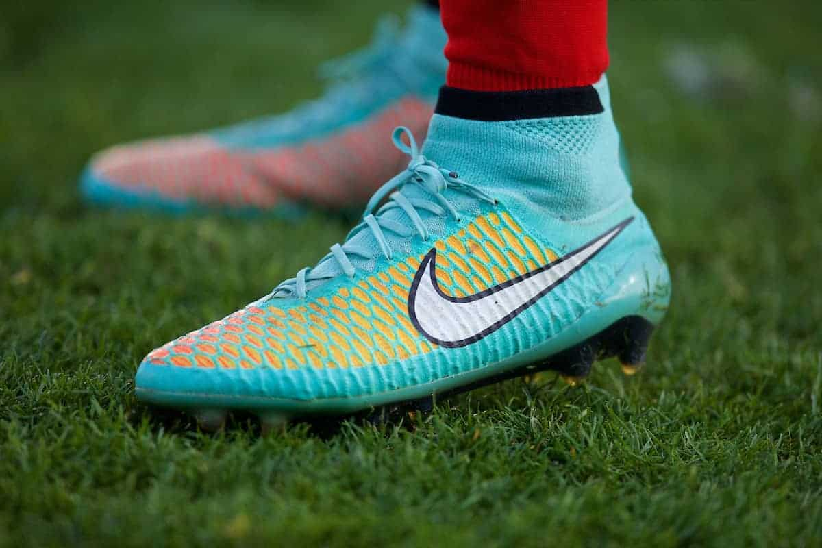 MADRID, SPAIN - Tuesday, November 4, 2014: The turquoise Nike boot of Liverpool's Kevin Stewart during the UEFA Youth League Group B match against Real Madrid at Ciudad Real Madrid. (Pic by David Rawcliffe/Propaganda)