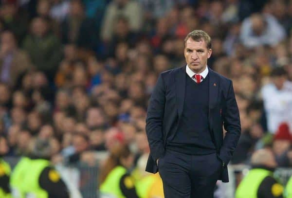 Liverpool's manager Brendan Rodgers during the UEFA Champions League Group B match against Real Madrid at the Estadio Santiago Bernabeu. (Pic by David Rawcliffe/Propaganda)