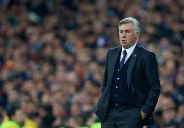 Real Madrid's head coach Carlo Ancelotti during the UEFA Champions League Group B match against Liverpool at the Estadio Santiago Bernabeu. (Pic by David Rawcliffe/Propaganda)