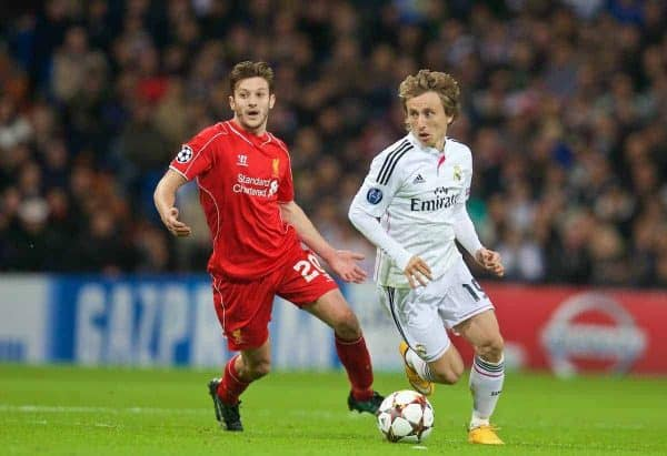 MADRID, SPAIN - Tuesday, November 4, 2014: Liverpool's Adam Lallana and Real Madrid's Luka Modric during the UEFA Champions League Group B match at the Estadio Santiago Bernabeu. (Pic by David Rawcliffe/Propaganda)