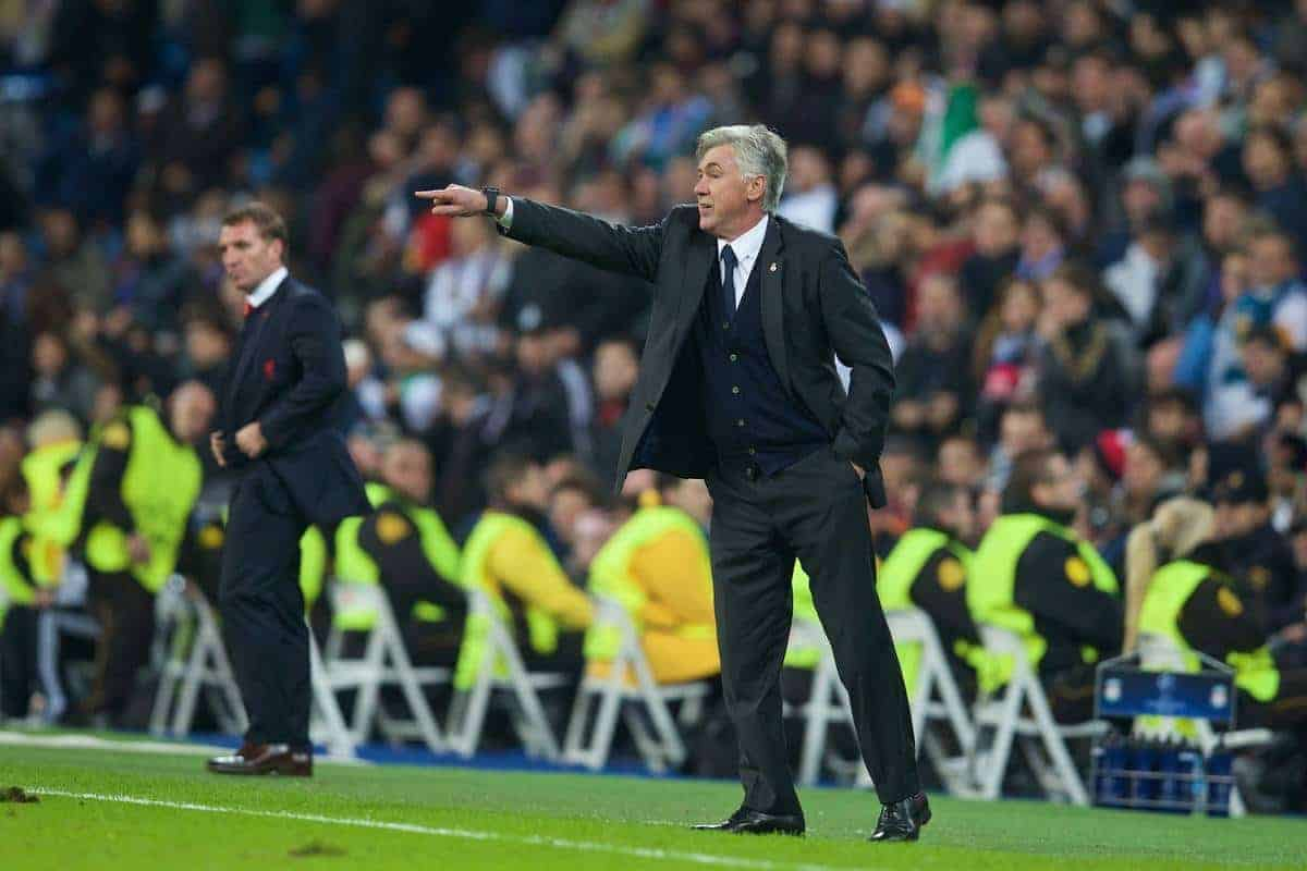 MADRID, SPAIN - Tuesday, November 4, 2014: Real Madrid's head coach Carlo Ancelotti during the UEFA Champions League Group B match against Liverpool at the Estadio Santiago Bernabeu. (Pic by David Rawcliffe/Propaganda)