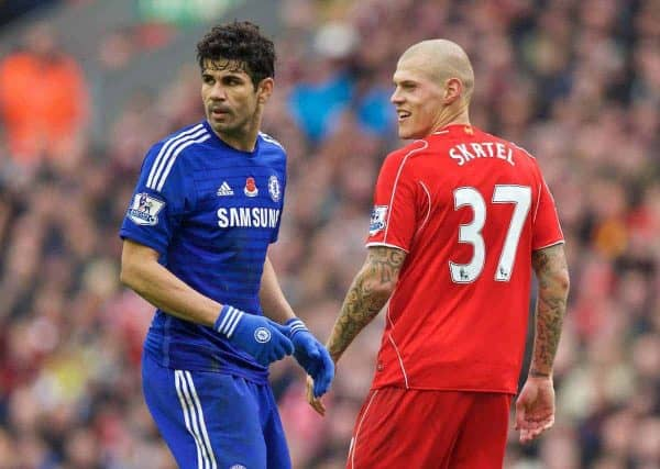 LIVERPOOL, ENGLAND - Saturday, November 8, 2014: Liverpool's Martin Skrtel in action against Chelsea's Diego Costa during the Premier League match at Anfield. (Pic by David Rawcliffe/Propaganda)