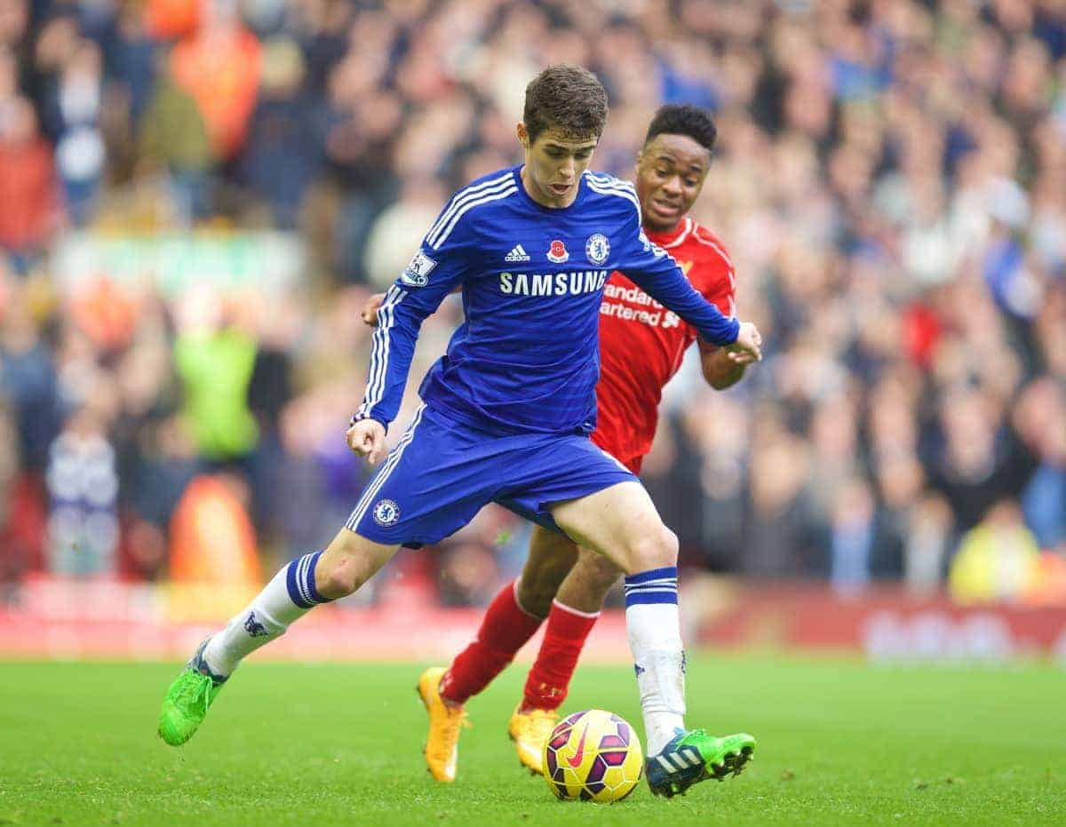 LIVERPOOL, ENGLAND - Saturday, November 8, 2014: Chelsea's Oscar dos Santos Emboaba Junior in action against Liverpool during the Premier League match at Anfield. (Pic by David Rawcliffe/Propaganda)