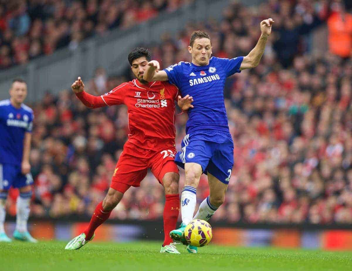 LIVERPOOL, ENGLAND - Saturday, November 8, 2014: Liverpool's Emre Can in action against Chelsea's Nemanja Matic during the Premier League match at Anfield. (Pic by David Rawcliffe/Propaganda)
