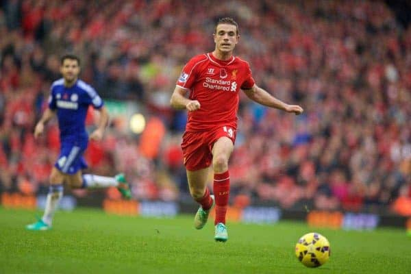 LIVERPOOL, ENGLAND - Saturday, November 8, 2014: Liverpool's Jordan Henderson in action against Chelsea during the Premier League match at Anfield. (Pic by David Rawcliffe/Propaganda)