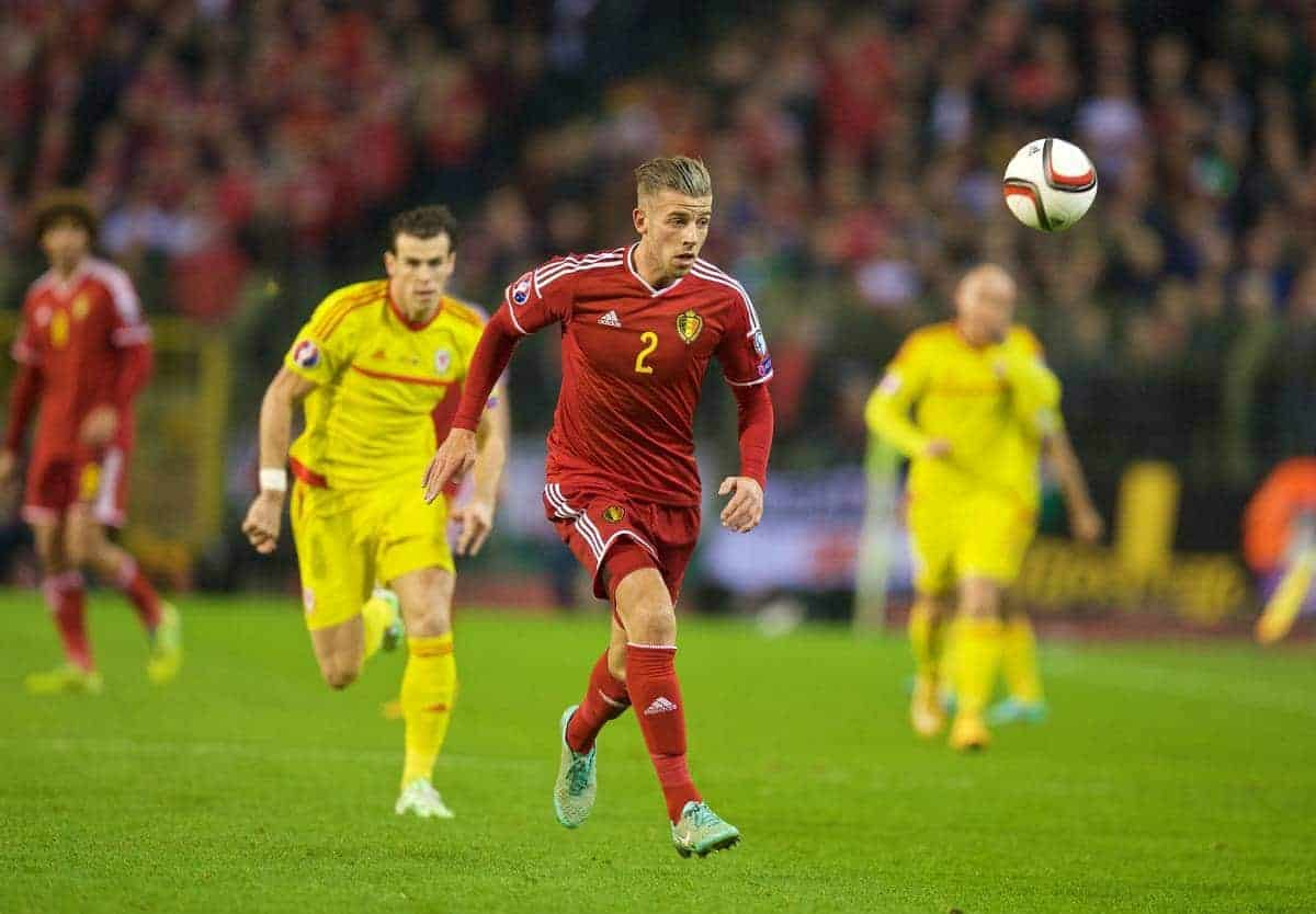 BRUSSELS, BELGIUM - Sunday, November 16, 2014: Belgium's Toby Alderweireld in action against Wales during the UEFA Euro 2016 Qualifying Group B game at the King Baudouin [Heysel] Stadium. (Pic by David Rawcliffe/Propaganda)