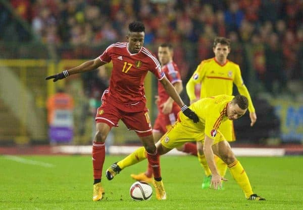 BRUSSELS, BELGIUM - Sunday, November 16, 2014: Wales' James Chester in action against Belgium's Divock Origi during the UEFA Euro 2016 Qualifying Group B game at the King Baudouin [Heysel] Stadium. (Pic by David Rawcliffe/Propaganda)