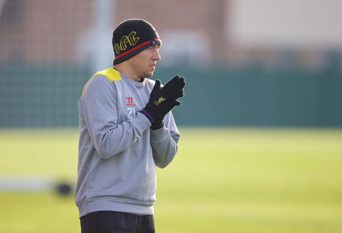 LIVERPOOL, ENGLAND - Tuesday, November 4, 2014: Liverpool's Lucas Leiva during a training session at Melwood Training Grounds ahead of the UEFA Champions League Group B match against PFC Ludogorets Razgrad. (Pic by David Rawcliffe/Propaganda)s