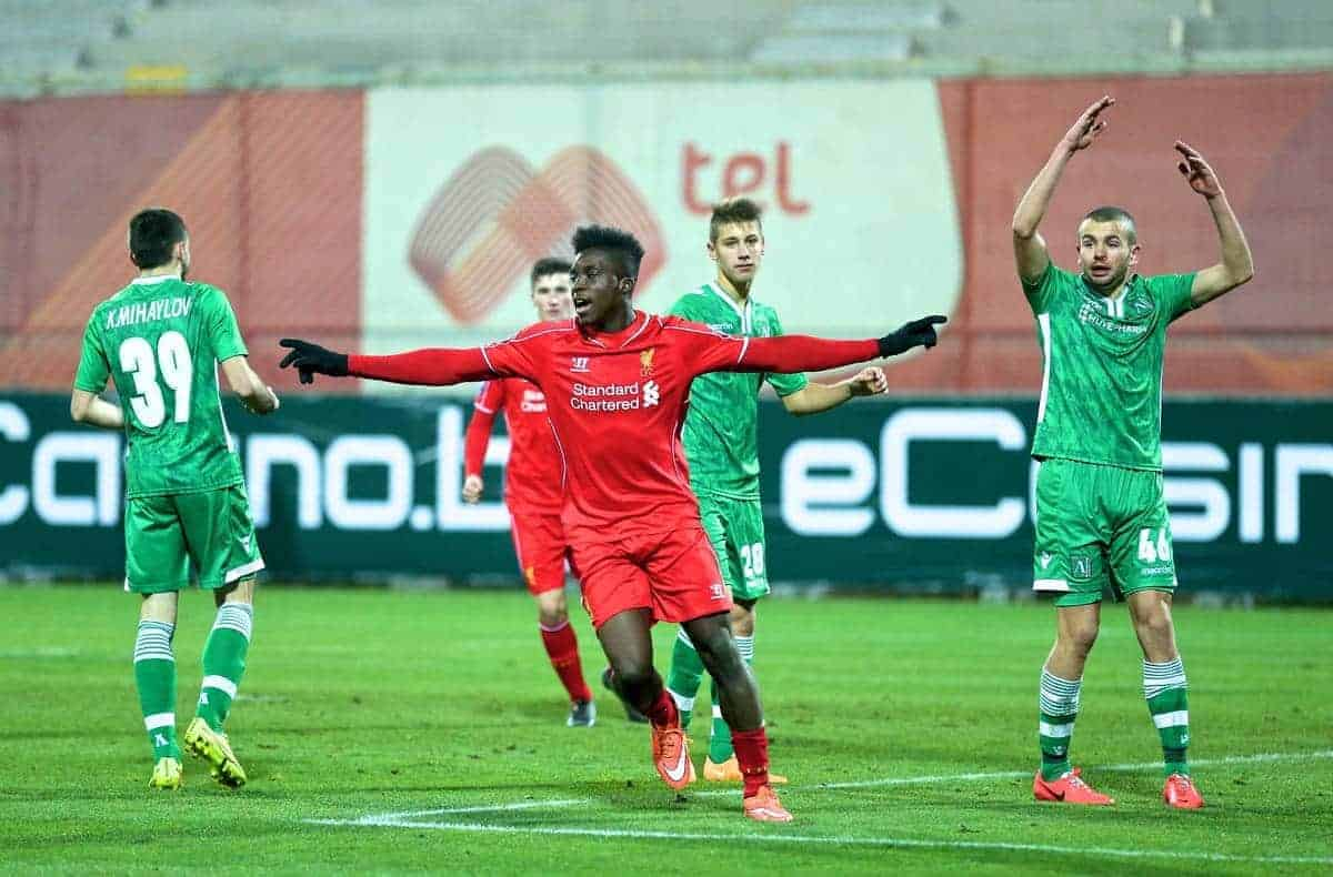SOFIA, BULGARIA - Wednesday, November 26, 2014: Liverpool's Oviemuno Ejaria Sheyi Ojo celebrates scoring the third goal agains PFC Ludogorets Razgrad during the UEFA Youth League Group B match at the Georgi Asparuhov Stadium. (Pic by David Rawcliffe/Propaganda)