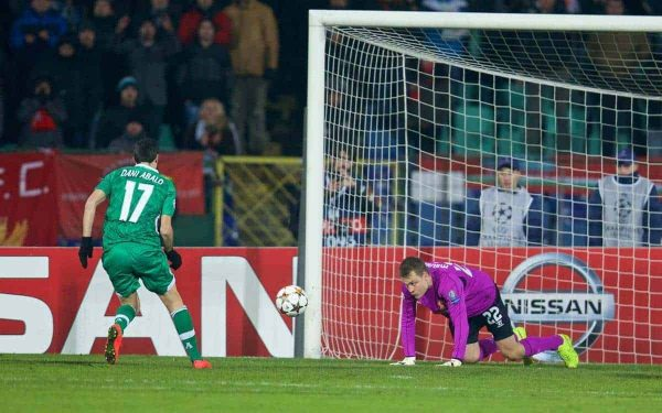SOFIA, BULGARIA - Wednesday, November 26, 2014: Liverpool's goalkeeper Simon Mignolet fumbles the ball to PFC Ludogorets Razgrad's Dani Abalo to score the first goal during the UEFA Champions League Group B match at the Vasil Levski National Stadium (Pic by David Rawcliffe/Propaganda)