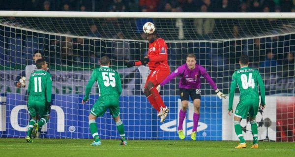 SOFIA, BULGARIA - Wednesday, November 26, 2014: Liverpool's Kolo Toure in action against PFC Ludogorets Razgrad during the UEFA Champions League Group B match at the Vasil Levski National Stadium. (Pic by David Rawcliffe/Propaganda)