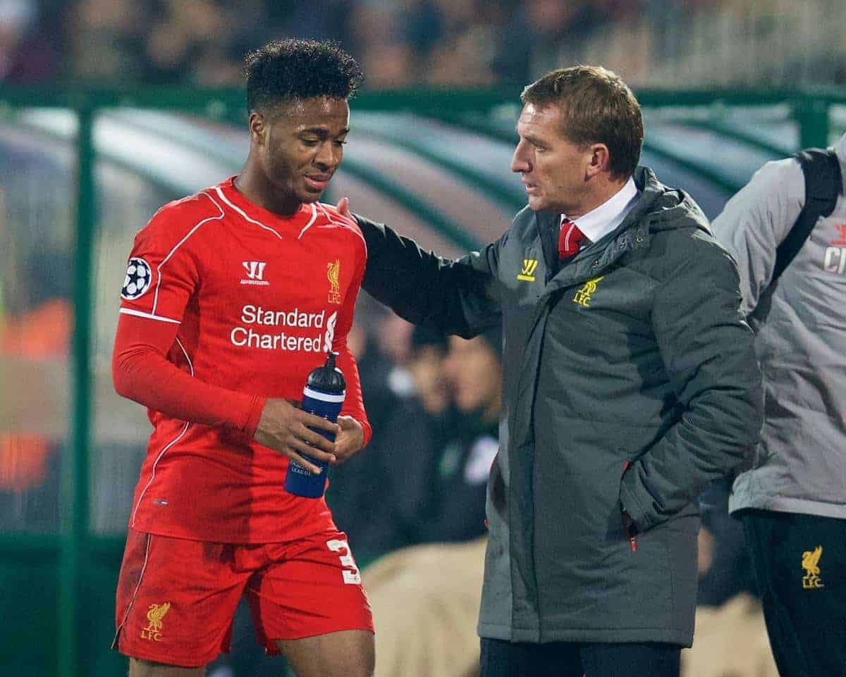 SOFIA, BULGARIA - Wednesday, November 26, 2014: Liverpool's manager Brendan Rodgers substitutes Raheem Sterling during the UEFA Champions League Group B match against PFC Ludogorets Razgrad at the Vasil Levski National Stadium. (Pic by David Rawcliffe/Propaganda)