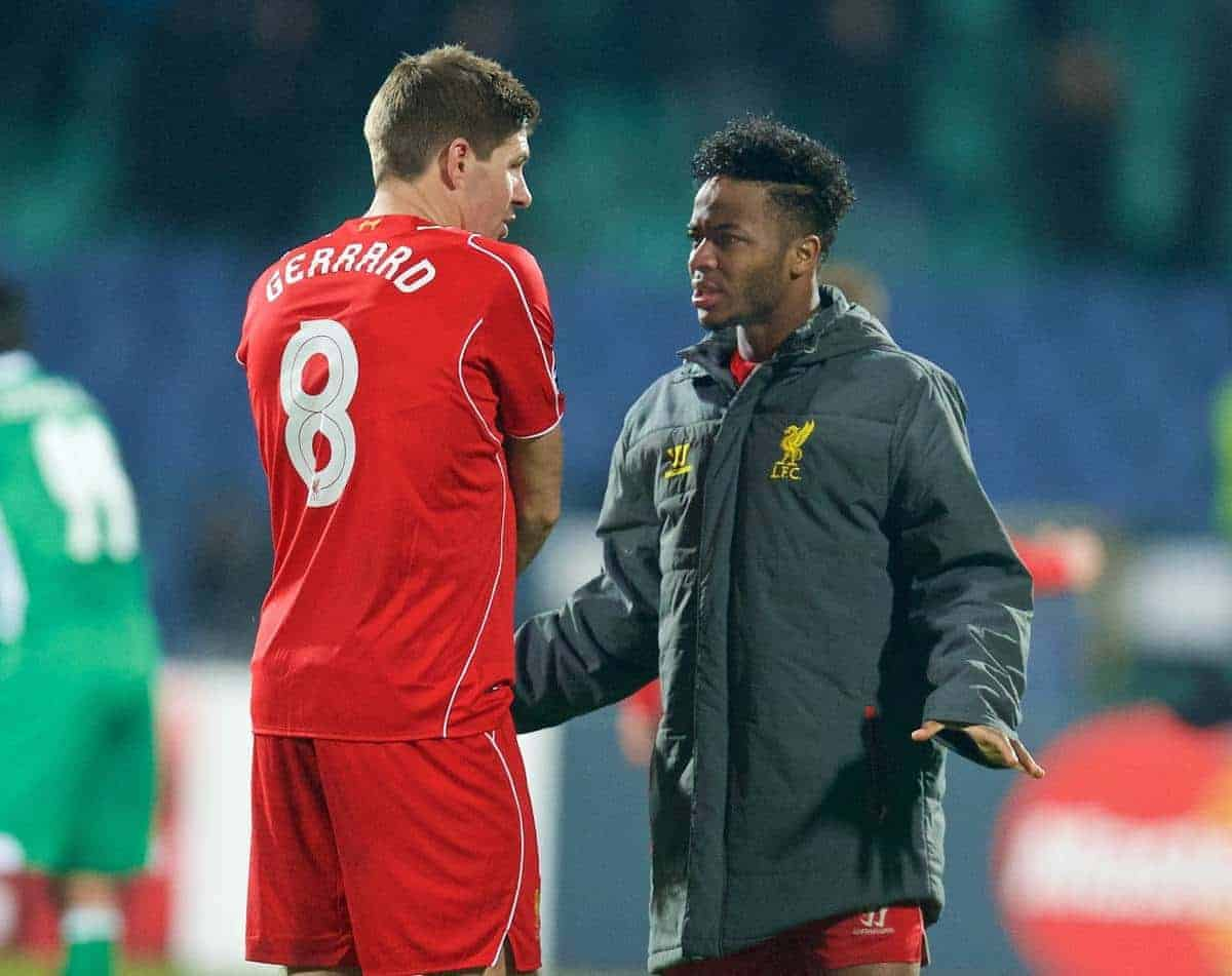SOFIA, BULGARIA - Wednesday, November 26, 2014: Liverpool's captain Steven Gerrard and Raheem Sterling after their 2-2 draw with PFC Ludogorets Razgrad during the UEFA Champions League Group B match at the Vasil Levski National Stadium. (Pic by David Rawcliffe/Propaganda)