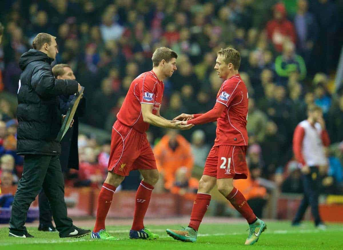 LIVERPOOL, ENGLAND - Saturday, November 29, 2014: Liverpool's captain Steven Gerrard comes on to replace Lucas Leiva against Stoke City during the Premier League match at Anfield. (Pic by David Rawcliffe/Propaganda)