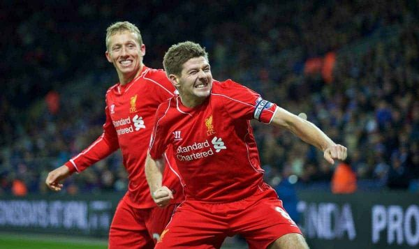 LEICESTER, ENGLAND - Tuesday, December 2, 2014: Liverpool's captain Steven Gerrard celebrates scoring the second goal against Leicester City with team-mate Lucas Levia during the Premier League match at Filbert Way. (Pic by David Rawcliffe/Propaganda)
