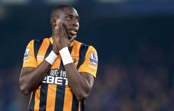 LIVERPOOL, ENGLAND - Wednesday, December 3, 2014: Hull City's Mohamed Diame looks dejected after missing a chance against Everton during the Premier League match at Goodison Park. (Pic by David Rawcliffe/Propaganda)