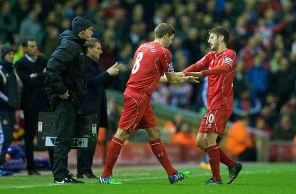 LIVERPOOL, ENGLAND - Saturday, December 6, 2014: Liverpool's substitute captain Steven Gerrard prepares to come on for Adam Lallana against Sunderland during the Premier League match at Anfield. (Pic by David Rawcliffe/Propaganda)