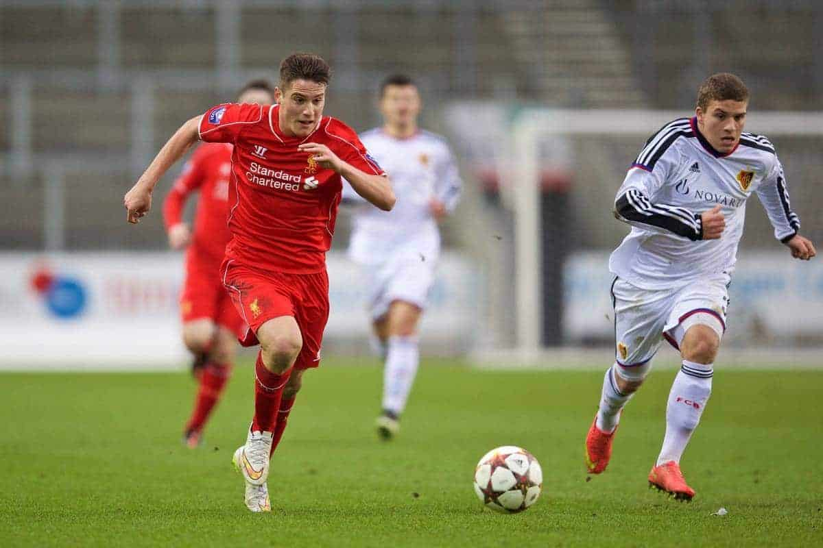 LIVERPOOL, ENGLAND - Tuesday, December 9, 2014: Liverpool's Sergi Canos in action against FC Basel's Antonio Fischer during the UEFA Youth League Group B match at Langtree Park. (Pic by David Rawcliffe/Propaganda)