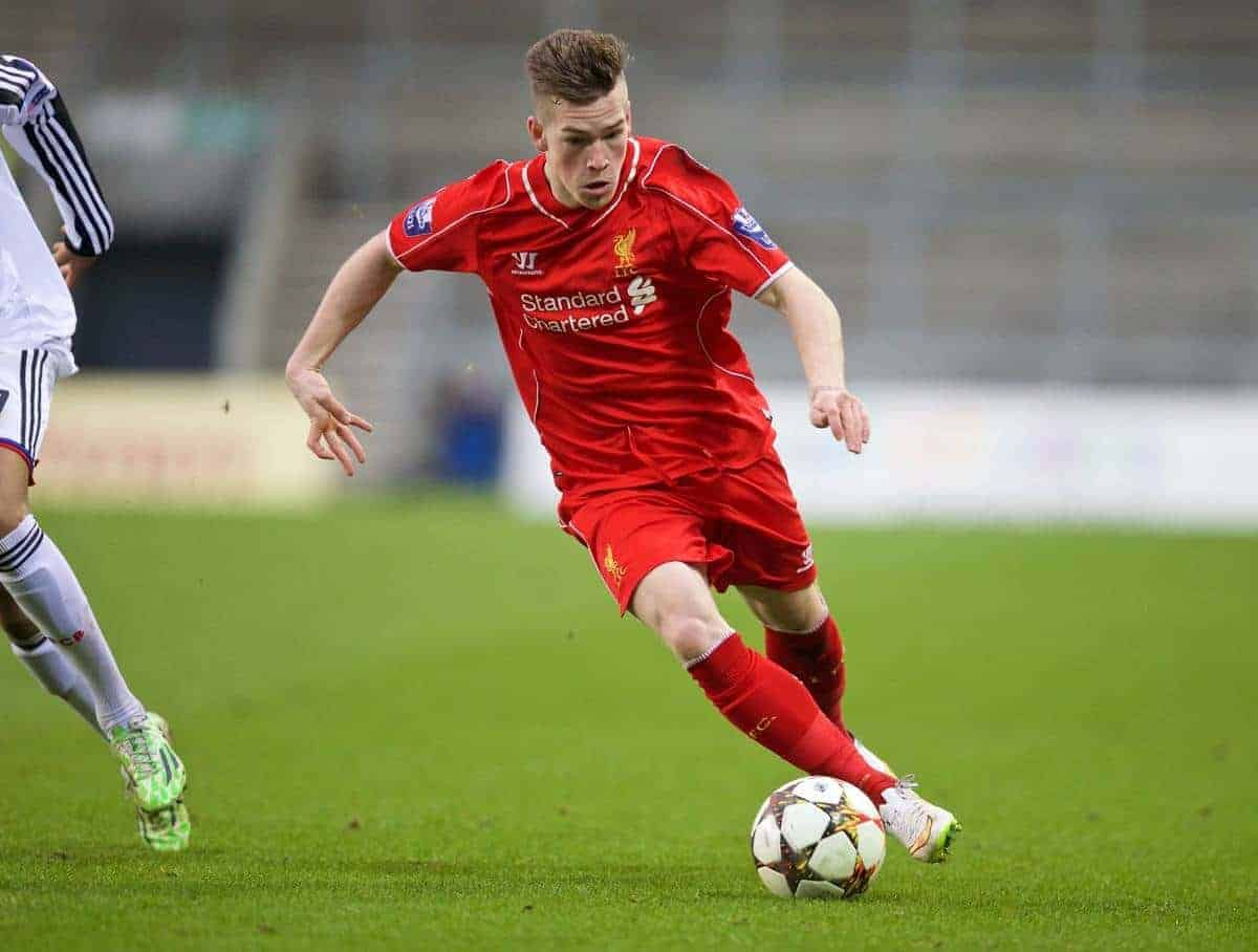 LIVERPOOL, ENGLAND - Tuesday, December 9, 2014: Liverpool's Ryan Kent in action against FC Basel during the UEFA Youth League Group B match at Langtree Park. (Pic by David Rawcliffe/Propaganda)