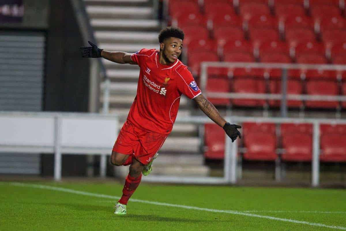 LIVERPOOL, ENGLAND - Tuesday, December 9, 2014: Liverpool's Jerome Sinclair celebrates scoring the third goal against FC Basel during the UEFA Youth League Group B match at Langtree Park. (Pic by David Rawcliffe/Propaganda)