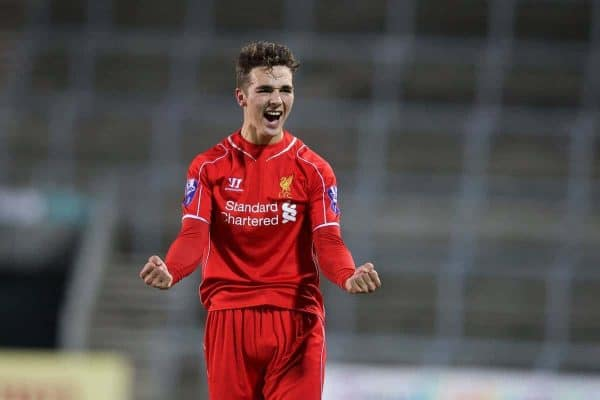 LIVERPOOL, ENGLAND - Tuesday, December 9, 2014: Liverpool's Adam Phillips celebrates beating FC Basel 3-0 during the UEFA Youth League Group B match at Langtree Park. (Pic by David Rawcliffe/Propaganda)