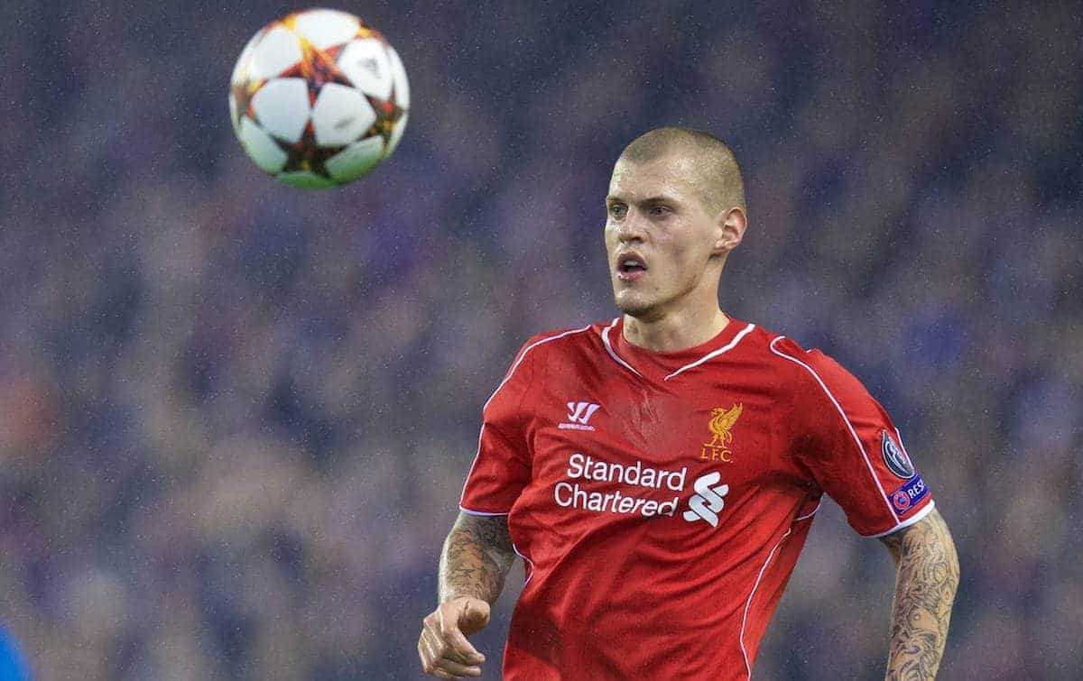 LIVERPOOL, ENGLAND - Tuesday, December 9, 2014: Liverpool's Martin Skrtel in action against FC Basel during the final UEFA Champions League Group B match at Anfield. (Pic by David Rawcliffe/Propaganda)