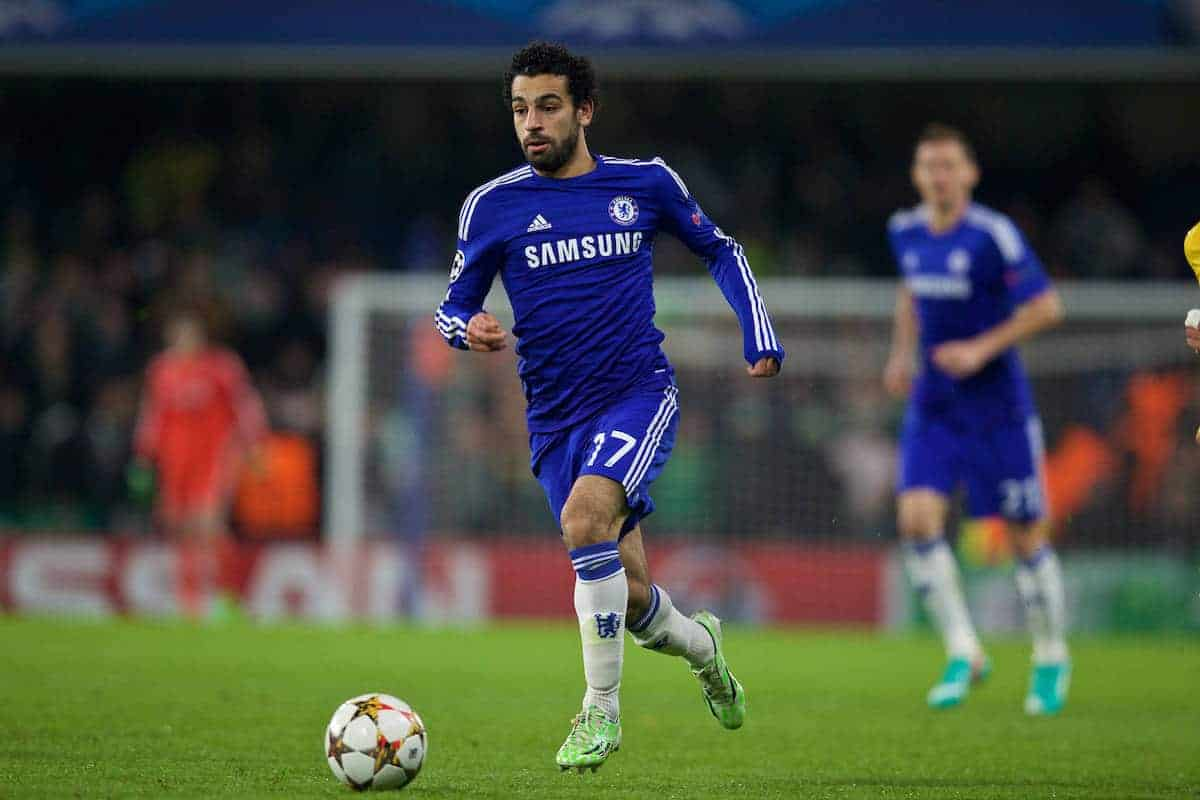 LONDON, ENGLAND - Wednesday, December 10, 2014: Chelsea's Mohamed Salah in action against Sporting Clube de Portugal during the final UEFA Champions League Group G match at Stamford Bridge. (Pic by David Rawcliffe/Propaganda)
