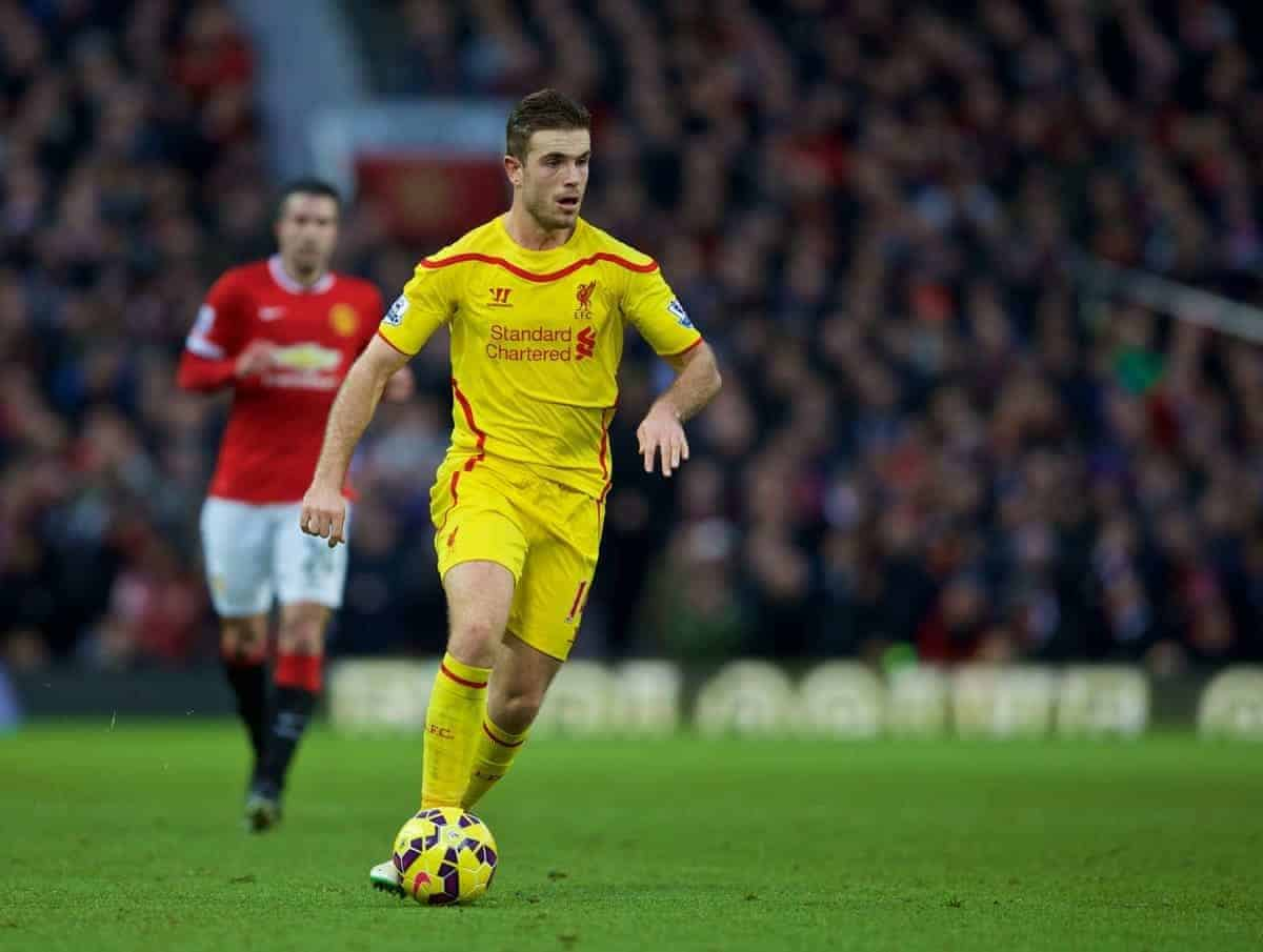 MANCHESTER, ENGLAND - Sunday, December 14, 2014: Liverpool's Jordan Henderson in action against Manchester United during the Premier League match at Old Trafford. (Pic by David Rawcliffe/Propaganda)